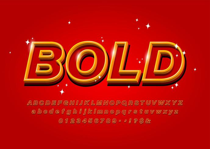 Outline Bold Alphabet font on red background vector