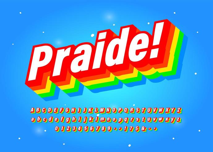 Six Colour Rainbow Typeface Intended To Celebrate Diversity.