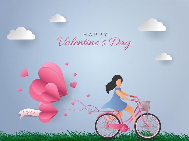 Glad Alla hjärtans dagskort. Kvinna som cyklar med hjärta luftballonger på bakgrund för blå himmel. Vektor papper illustration