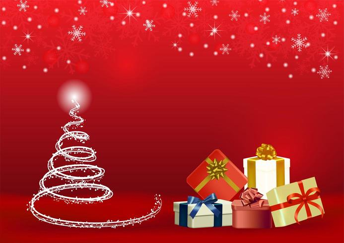 Christmas red vector background with gifts and tree