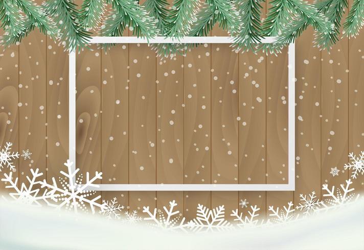 Julbakgrund med snöflingan på trä och den vita ramen vektor