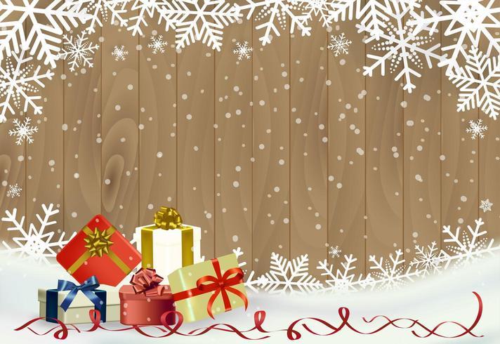 Jul och bakgrund för gott nytt år med snöflingan på trä med gåvor vektor