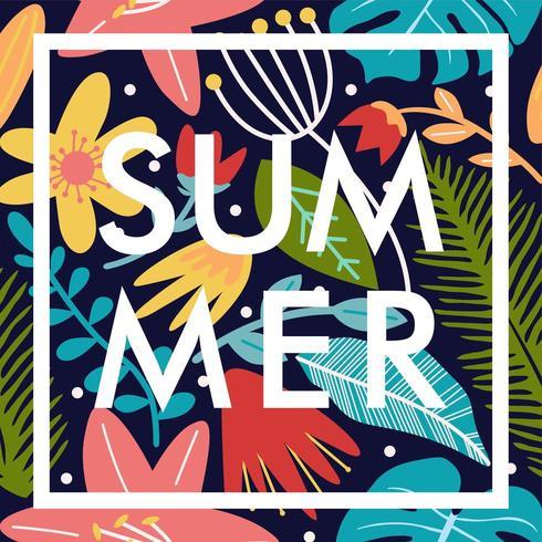 sommar blommig affisch banner mönster vektor