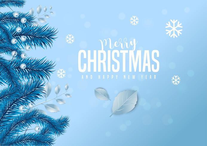 Letras de feliz Natal em gelo azul fundo decorado com bagas e folhas de pinheiro.