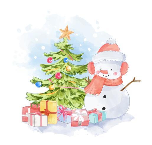 söt snögubbe med presenter och julgran vektor