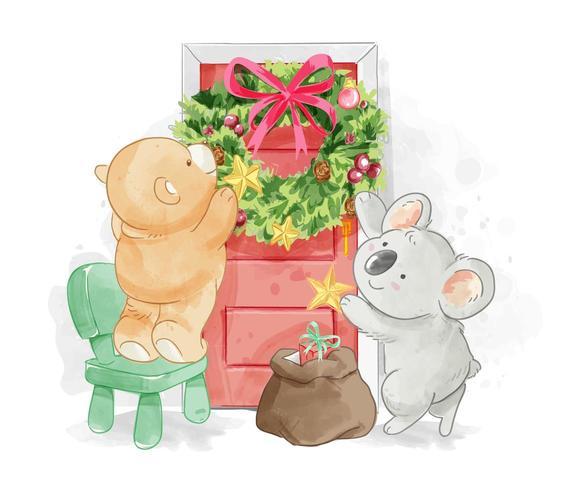 cute animal friend decorating christmas wreath vector