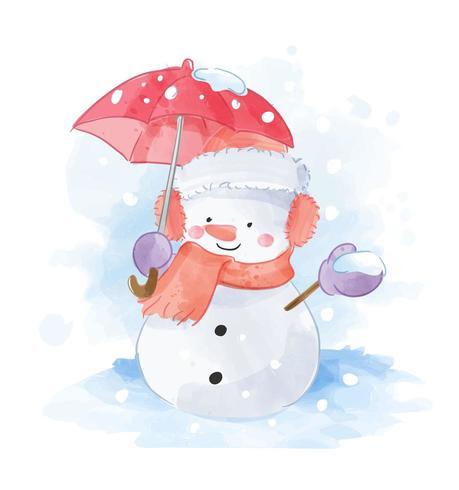 Hombre de nieve con ilustración de paraguas rojo vector