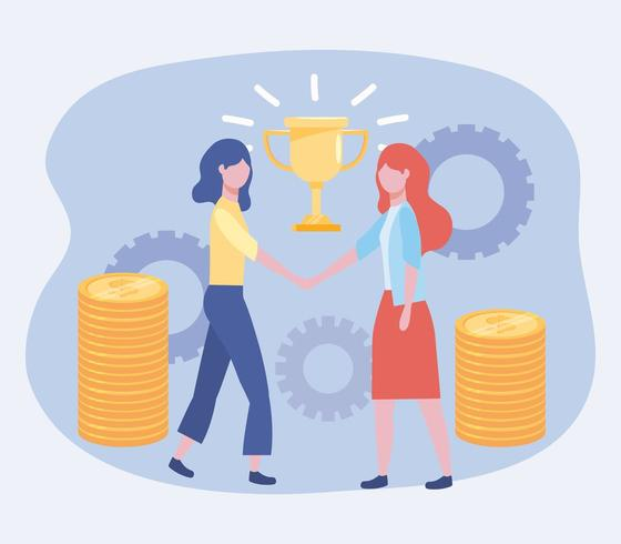 businesswomen with cup prize and coins with gears vector