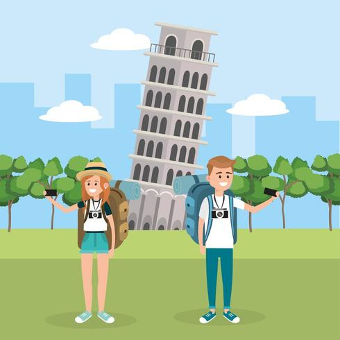 woman and man travel in the leaning tower of pisa vector