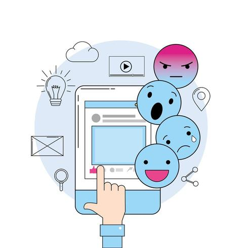 emojis message with smartphone website media vector