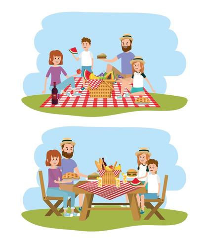family together with basket to picnic recreation vector