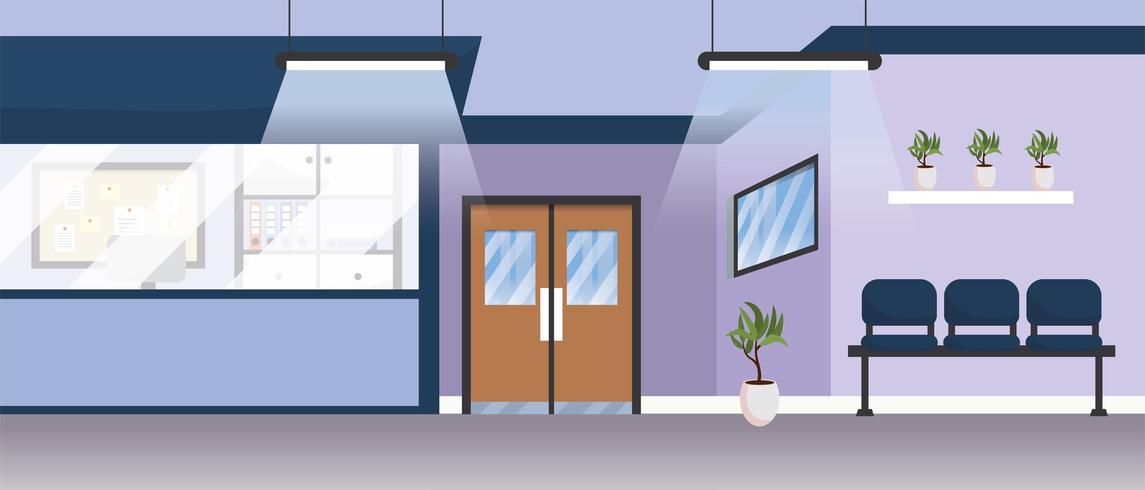 professional hospital room with doors and chairs vector