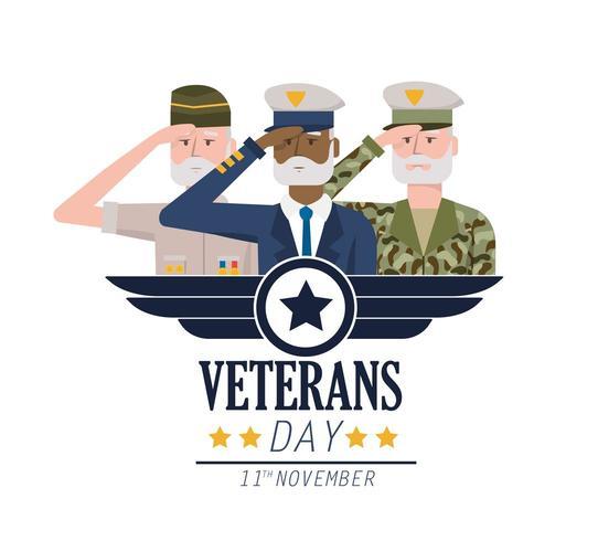celebración del día nacional de los veteranos a las fuerzas del ejército vector