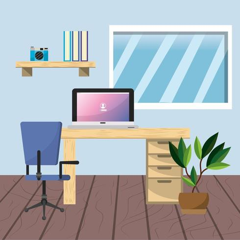 Workplace and office design vector