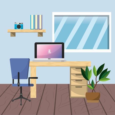 Arbetsplats och kontor design vektor