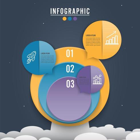 Alternativ för cirkel infographic mall tre vektor