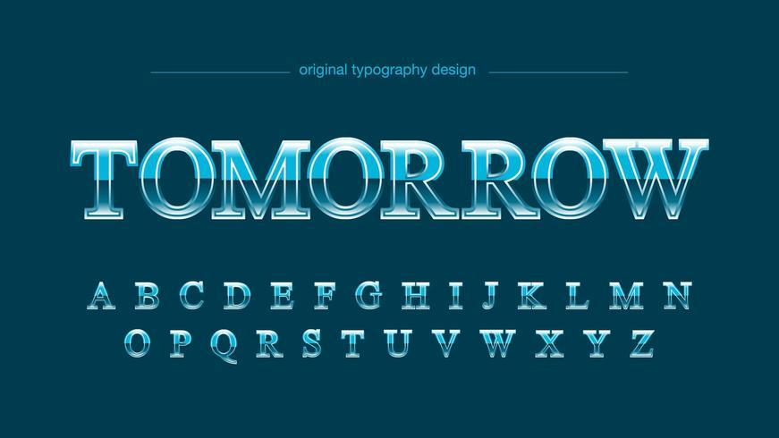 Blue Chrome Sports Uppercase Font vector