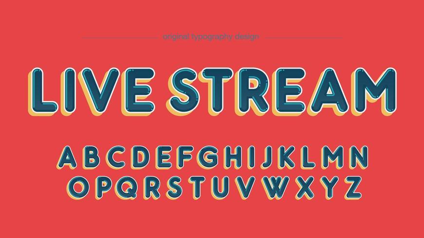 Färgglada fet rundade stora bokstäver typografi vektor