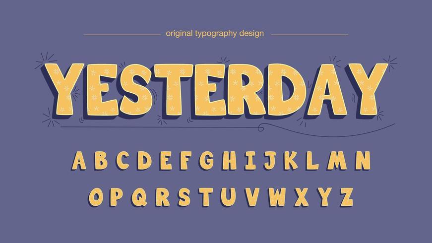 Tecknadaktig gul rundad typografi vektor