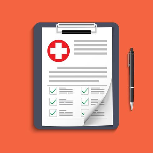Clipboard with medical cross and pen vector