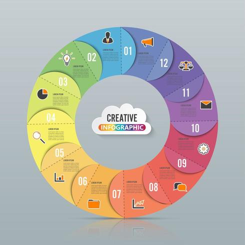 Cirkeldiagram infographic mall med 12 alternativ vektor