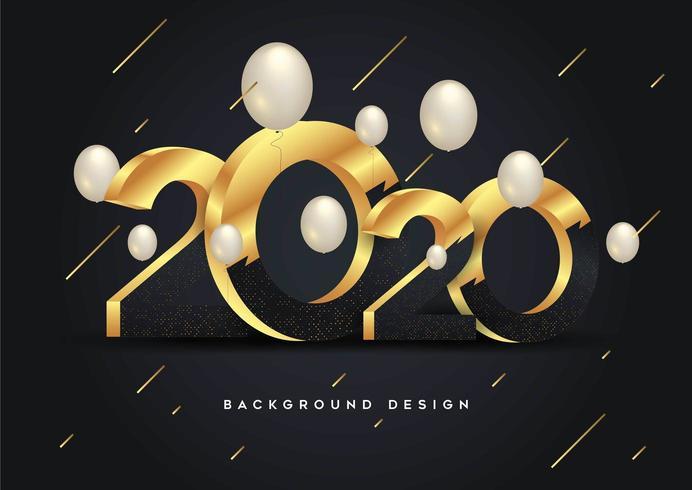 Gott nytt år 2020 lysande bakgrund med ballonger