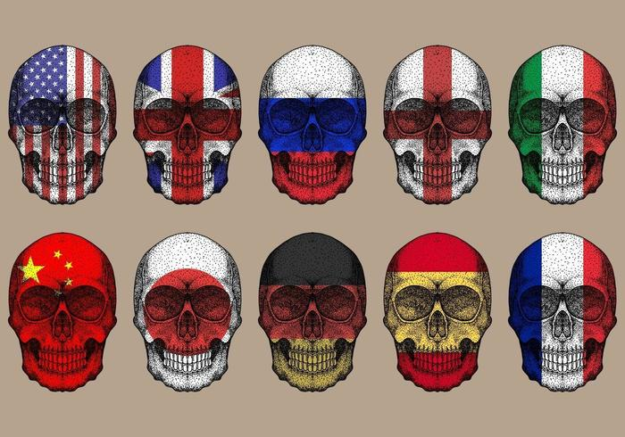 skull flags set  vector
