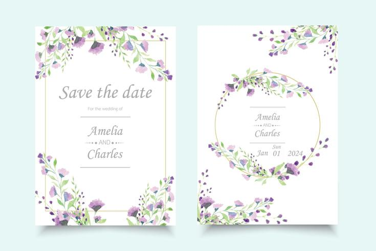 Set of wedding invitation card with watercolor flower  vector