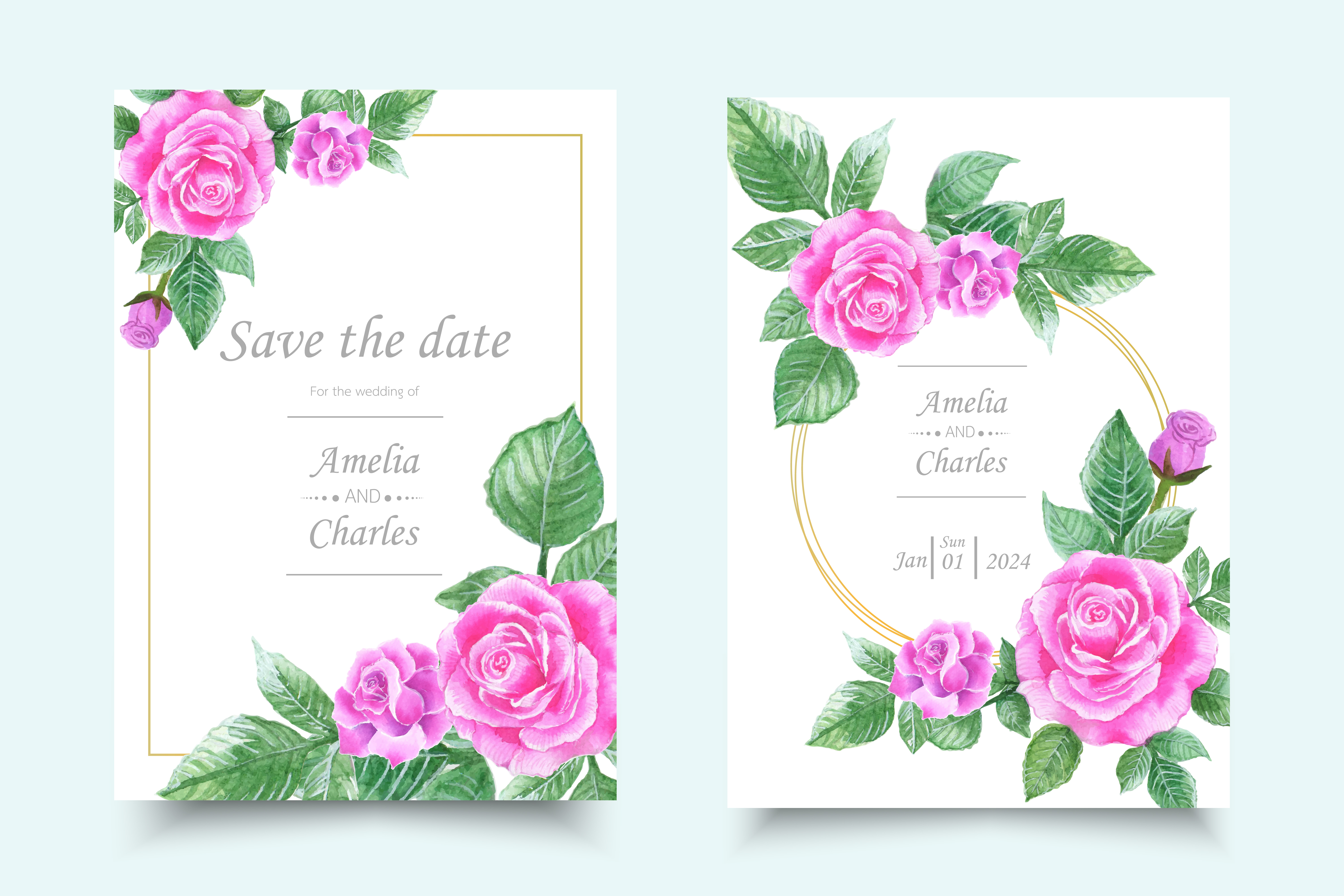 set of invitation card with watercolor flower 690436