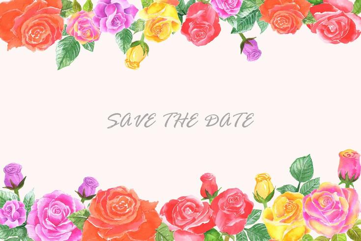 bröllop inbjudan banner med akvarell blomma vektor
