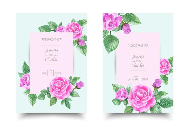 Conjunto de tarjeta de invitación de boda con acuarela de rosa rosa