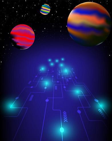Teknik är vägen till universum och framtiden vektor