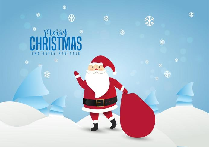 Santa Claus with a huge bag on the walk to delivery  vector