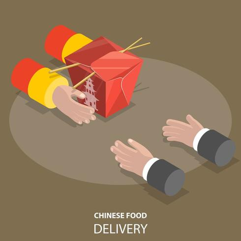 Chinese food fast delivery flat isometric concept vector