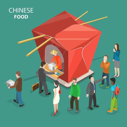 Chinese food flat isometric concept. vector