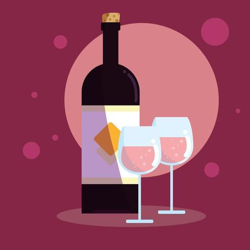 botella de vino con copas vector