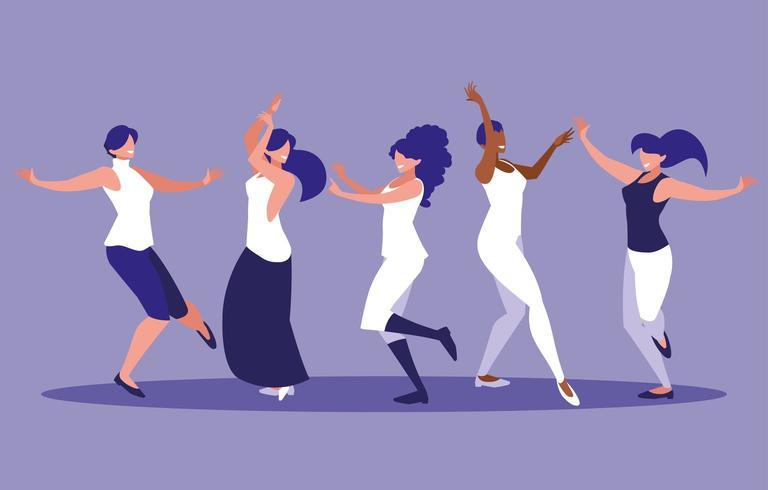 grupp kvinnor dans avatar karaktär vektor