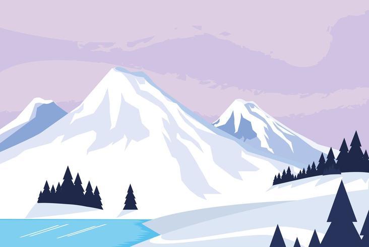 snowscape nature scene icon vector