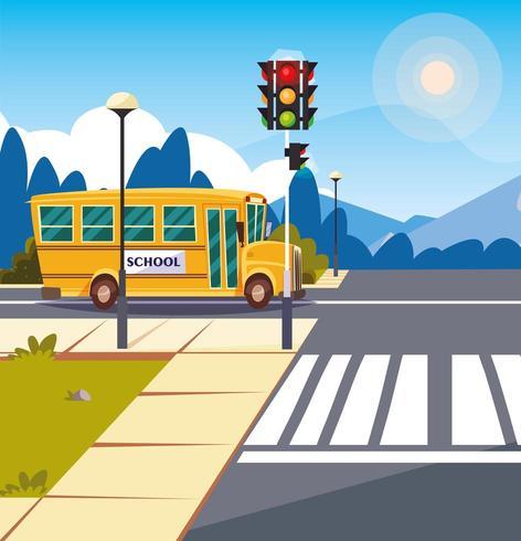 school bus transportation in road with traffic light vector