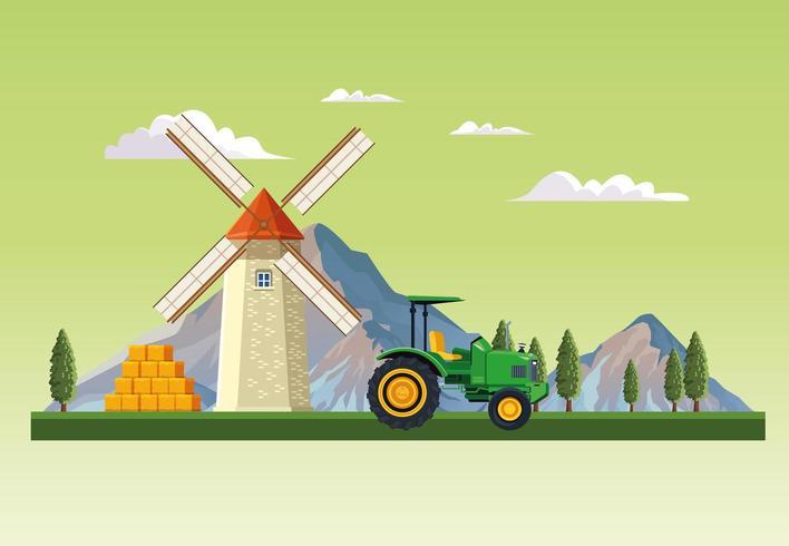 Ferme avec paysage de grange vecteur