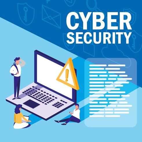 mini people with laptop and cyber security vector