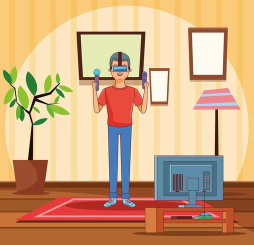 Teenager with video game cartoon vector