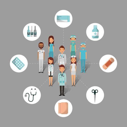 conjunto de herramientas y personas de atención médica vector