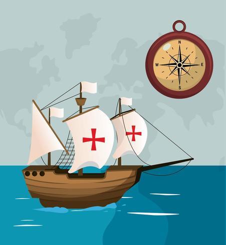 ship navigating on sea with compass vector