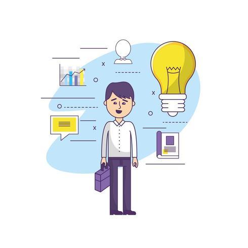 businessman with bulb idea vector
