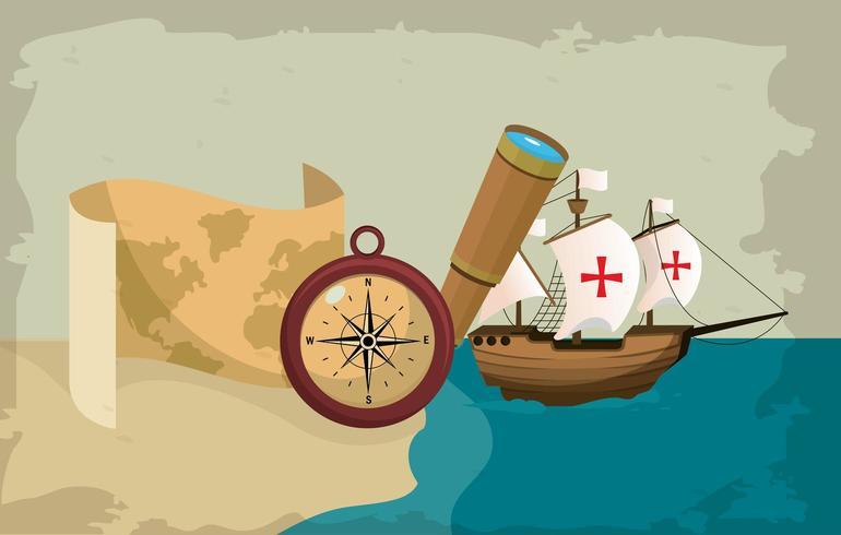 fartyg som navigerar på havet med kompass vektor