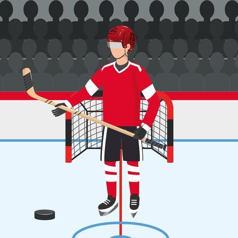 jugador de hockey con uniforme profesional y disco vector