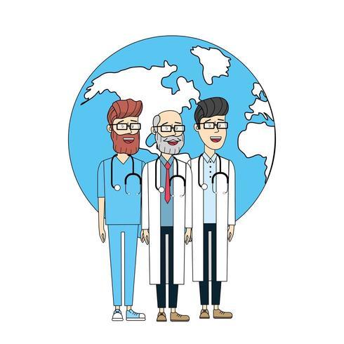 estetoscopio de médicos con salud global para hombres del planeta vector