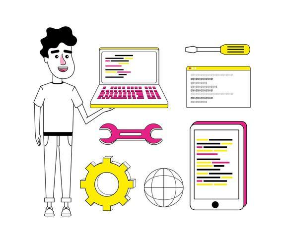 Conjunto de dibujos animados de codificación 2 vector