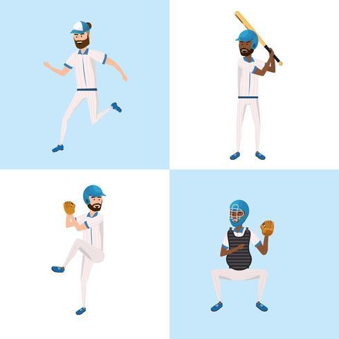 sätta basebollspelarlag med professionell uniform vektor